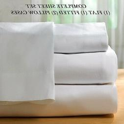 1 new white cotton queen size sheet set t200 percale best fo