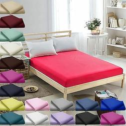 "100%Egyptian Cotton 16""/40CM Deep Fitted Bed Sheets Twin,Que"