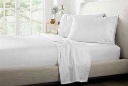 100% Percale Cotton 400 TC 4 Piece Sheet Set Size Queen Whit