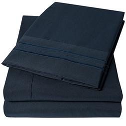 1500 Supreme Collection Extra Soft Queen Sheets Set, Navy Bl