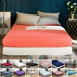 MOHAP Solid Deep Pocket Bed Fitted Sheet For Mattress Twin F