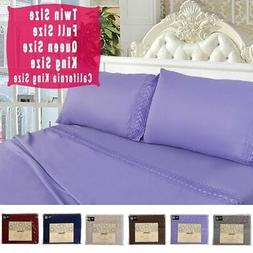 1600 Count 4 Piece Bed Sheet Set Deep Pocket 6 Color 5 Size