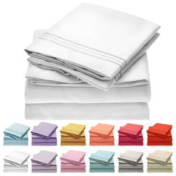 Mellanni 4 Piece Microfiber Bed Sheet Set- Deep Pocket, Wrin