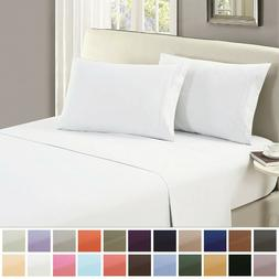 Mellanni 1800 Collection Microfiber Flat Top Bed Sheet Solid