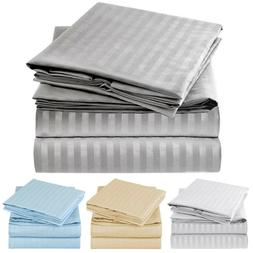 Mellanni 4 Piece Microfiber Bed Sheet Set Striped Deep Pocke