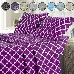 Egyptian Comfort Bed Sheet Set 1800 Series 4 Piece Deep Pock