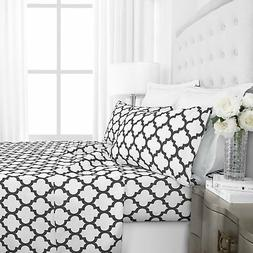 Luxury 1800 Hotel Collection Quatrefoil Pattern Bed Sheet Se