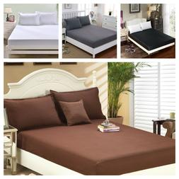 1900 Count Wrinkle Free Fitted Bed Sheet  King, Queen, Twin,