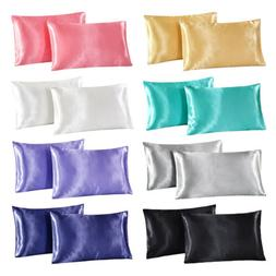 2pcs standard queen king satin silk pillowcase