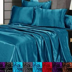 3 pc satin silky sheet set queen