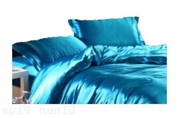 3 Piece Turquoise  Satin Silky Sheet Queen Size Fitted Pillo