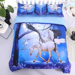 Alicemall 3D Unicorn Bedding Horse Comforter Set 3D Unicorn