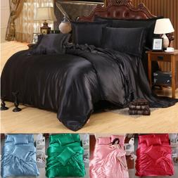 4 PCS Solid Silk Bedding Sets Sheets Duvet Cover Pillowcase