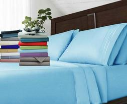 Egyptian Comfort 1800 Series 4 Piece Bed Sheets Set Embroide