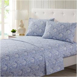 Mellanni Sheet Set Floral Print Paisley) Deep Pocket Microfi