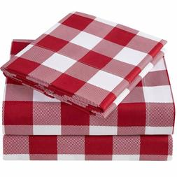 Mellanni Checkered Sheets, Deep Pocket Microfiber 4-Piece Sh