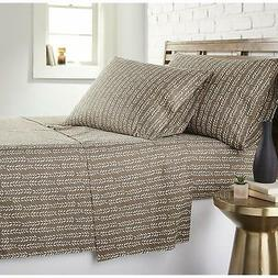 4 Piece Pretty Taupe Sheets Queen Size Set Cute Simple Small