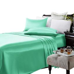 Super Deluxe Satin Silky 4 Piece Bed Sheet Set Deep Pocket S