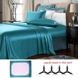 Luxury 4 Pieces Super Soft Satin Silky Bed Sheet Set Deep Po