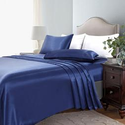 4 Piece Satin Silky Bed Sheet Set Full Queen King Super Soft