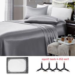 4 Piece Satin Silky Bed Sheet Set Full Queen King Deep Pocke
