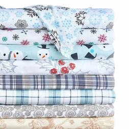 4-Piece Set: 100% Cotton Flannel Holiday & Winter Prints Dee
