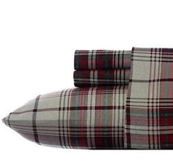 4 Piece White Brown Queen Plaid Checkered Deep Pocket Flanne