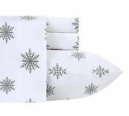 400 TC 100% Cotton Sheet Snowflakes Grey Full Size Printed S