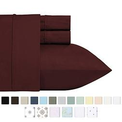 400 Thread Count 100% Cotton Sheet Set, Wine Red Queen Size
