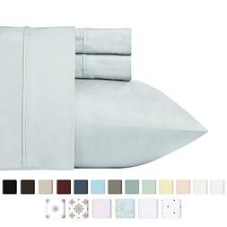 400 Thread Count 100% Cotton Sheet Set, Light Grey Queen She