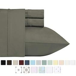 400 Thread Count 100% Cotton Sheet Set, Slate Grey Queen She