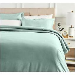 AmazonBasics 400 Thread Count Cotton Duvet Cover Set with Sa