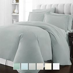 400 Thread Count 3 Piece Duvet Cover Set, 100% Long Staple C