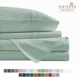 Pizuna 400 Thread Count Cotton Queen Size Sheets Set Sage, 1