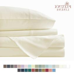 Pizuna 400 Thread Count Queen Cotton Sheets Set White, 100%