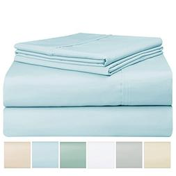 Pizuna 400 Thread Count Cotton Light Blue Queen Sheets Set,