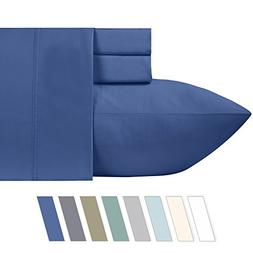 600 Thread Count Best 100% Cotton Sheets – True Blue Long-
