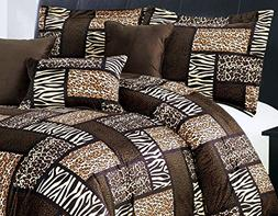 7 Piee QUEEN Size Safari Comforter set - Leopard, Tiger Zebr