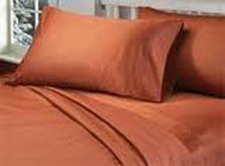 8,10,12,15 Inch Deep Pkt Brick Red Solid Bedding Items 1000T