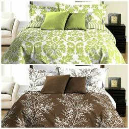 8pc Reversible Green Leaf or Brown Tree Branches Duvet Cover