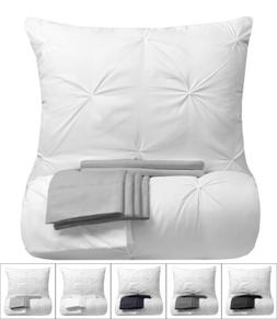 9 Piece Pinch Pleat Pintuck White Comforter Bed-in-a-Bag Set