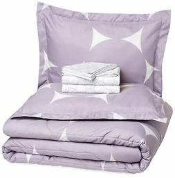 AmazonBasics 7-Piece Bed-In-A-Bag - Full/Queen, Purple Mod D
