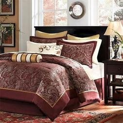 BEAUTIFUL ELEGANT COMFORTER SET & SHEETS GOLD GREY RED BURGU