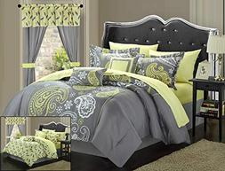 Chic Home Olivia 20 Piece Comforter Set, Queen, Grey