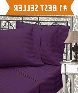 Elegant Comfort Stripe Bed Sheets, Queen, Eggplant-Purple