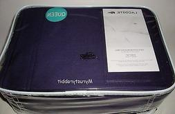 LACOSTE Queen Sheet Set of 4 - 100% Brushed Twill Cotton - D