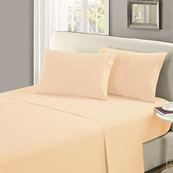 Mellanni Flat Sheet Queen Beige - HIGHEST QUALITY Brushed Mi