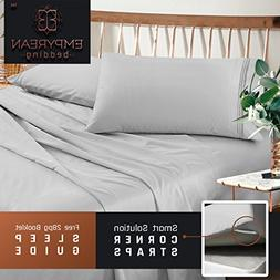 Premium Queen Sheets Set - Light Silver Grey Hotel Luxury 4-