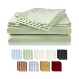 Queen Size Classic Sateen Stripe Sheet Set - Sage