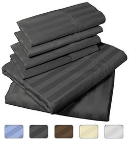 American Pillowcase - Luxury Queen Size Bed Striped Sheet Se